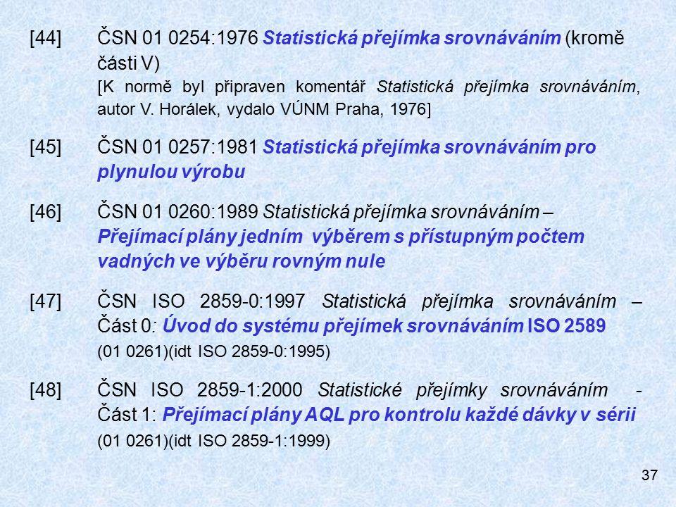 [44] ČSN 01 0254:1976 Statistická přejímka srovnáváním (kromě části V)